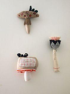 Cloth toadstool fabric flower soft sculptures by JessQuinnSmallArt