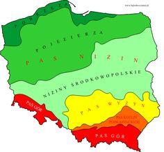 Polska - pasowe ukształtowanie powierzchni