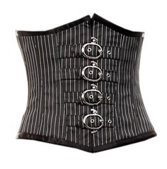 The Violet Vixen - BuckleUp Bombshell Black/White Corset, $67.20 (http://thevioletvixen.com/corsets/pinstripe-underbust-corset-170/)   Pinstripe and buckles make the office more tolerable and sexy at the same time. Get all the support you need with real steel boning and quality materials in this corset.