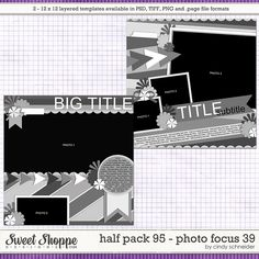 Digital Scrapbook Templates, Cindy's Layered Templates - Half Pack Photo Focus 36 by Cindy Schneider Scrapbook Templates, Scrapbook Sketches, Card Templates, Scrapbook Layouts, Photo Focus, Big Photo, Photo Drop, Mini Scrapbook Albums, Scrapbooking Layouts