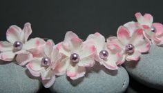 Flower Hair Pins, Bobby Pins, Light Pink Flowers, Glass Pearl Center.  Wedding, Prom, or Special Event by JJJCrafts on Etsy