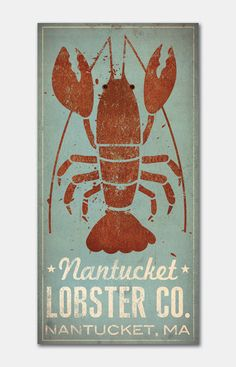 CUSTOM Nantucket Lobster Co. Graphic Illustration on Stretched Canvas Wall Art… Illustration Design Graphique, Graphic Illustration, Design Mignon, Lobster Art, Deco Marine, Pop Art, Nantucket Style, Pallet Painting, Coastal Decor