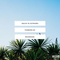 Decir te extraño también es regresar. #NegroIrregular #frase #quote Tumblr Quotes, All Quotes, Lyric Quotes, True Quotes, Best Quotes, Inspirational Phrases, Motivational Phrases, Spanish Phrases, Love Actually