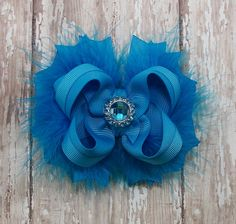 Turquoise Bow Fluffy Stacked Boutique Bow with by darlindivas, $7.99