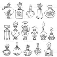 Black White Fantasy Vintage Perfumes Pattern Stock-Vektorgrafik (Lizenzfrei) 402886945 - Black and white fantasy vintage perfumes. Pattern for adult coloring book in zenart or zentagle sty - Doodle Drawings, Doodle Art, Drawing Sketches, Doodle Frames, Book Drawing, Zen Doodle, Tattoo Drawings, Drawing Ideas, Adult Coloring