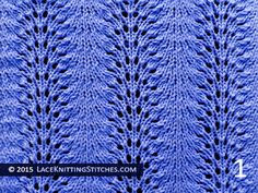 Lace knitting stitch of the Month - September 2015. #9 Old Shale aka Feather and Fan - Pattern 1