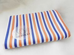 Orange&Blue&White striped pocket square by BETOLLI. Handmade!