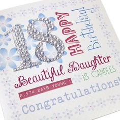 Handmade 18th Birthday Card Flowers Female Pretty Silver Glitter Stick On Diamante Numbers