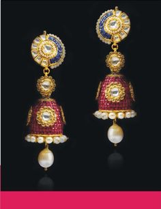 #earrings with rubies,sapphires,diamonds,pearls and gold