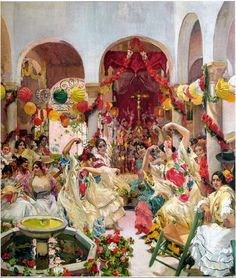 """Joaquín Sorolla (1863-1923) """"Seville, the Dance"""" (1915) Oil on canvas Located in the Hispanic Society of America, New York City, New York, United States This painting is part of Sorolla' """"The Vision of Spain"""" series. Sorolla was commissioned to..."""
