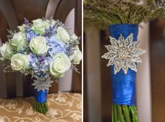 Like this with lighter blue ribbon and no brooch