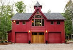 Barn home...idea- his and hers garages! http://postandbeamliving.files.wordpress.com/2010/12/02-017.jpg