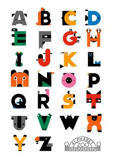 This is a different animal alphabet post from other collections. Although it's named as zoo, it uses alphabet shape to represent animals, rather their names. It's a good guess game with… Alphabet Design, Alphabet Art, Alphabet Nursery, Typography Alphabet, Typography Fonts, Hand Lettering, Creative Typography, Graphic Design Typography, Logo Design