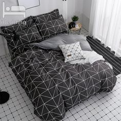 US $19.89  30% Off | Black Geometric Bedding Set 3/4pcs Bed Linens Home Textile Duvet Cover Set AB Sidebedclothes Modern Sheet Pillowcase Queen Bed