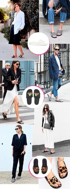 slide adidas é um sucesso! Adidas Slides Outfit, Adidas Outfit, Fashion 2017, Look Fashion, Fashion Outfits, Fashion Trends, Fashion Women, Estilo Lady Like, Slippers For Girls