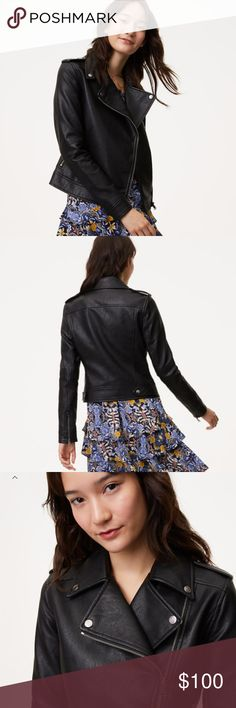 """Loft Black Faux Leather Moto Jacket (NWT) In luxe faux leather, rev up your wardrobe with this forever-cool moto style. Snapped notched lapels. Long sleeves with zip cuffs. Epaulets. Asymmetric zip front. Front zip pockets. Back yoke. Snap tabs at back hem. Lined. 20 1/2"""" long. Women's size 6, NWT, never worn. LOFT Jackets & Coats"""