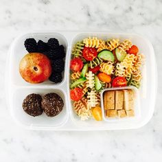 Pasta salad day! A few garden cucumbers and tomatoes with a lemon vinaigrette. Marinated tofu, pluot, blackberries and chocolate chia power balls. #easylunchboxes