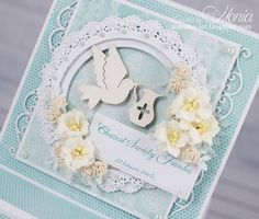 Moja papierowa kraina: Marianne Design Confirmation Cards, Explosion Box, Marianne Design, Cute Cards, Baby Cards, Christening, Quilling, Invitation Cards, Decoration
