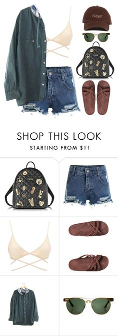 """""""Protest me"""" by mikaylaperrine ❤ liked on Polyvore featuring Love Moschino, Charlotte Russe, Billabong and Karen Walker"""