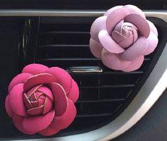 Rose Flower Leather Felt Essential Oil Car Vent Diffuser Aromatherapy Oils Color