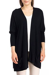 Cupio Women's Long Sleeve Dolman Cardigan, Black, Small/Medium