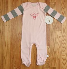 Burt's Bees Baby Girl Footed Coverall  ~ Pink & Gray ~ 100% Organic Cotton ~ #BurtsBeesBaby #Coverall