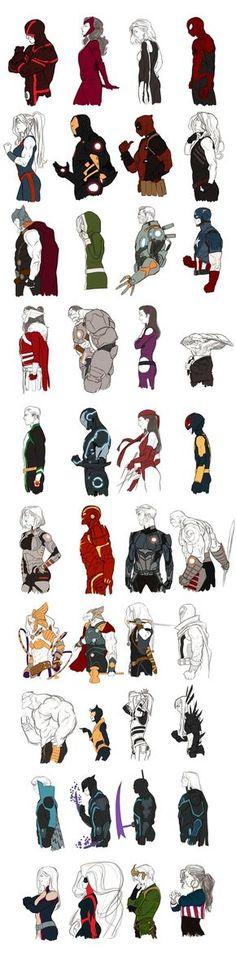 Kristafer Anka's Marvel NOW! series:  Cyclops - Scarlet Witch - Invisible Woman - Spider-man  She-Hulk - Iron Man - Deadpool - Red She-Hulk  Thor - Rogue - Cable - Captain America  Lady Sif - Hulk - Hawkeye - Broo  Noh Varr - Iron Man Stealth - Elektra - Nova  Gamora - Iron Man Godkiller - Starlord - Drax the Destroyer  Angela - Beta Ray Bill - Valkyrie - Magneto  Beast - Wasp - Dazzler - Magik  Banshee - Daken - Grim Reaper - Sentry  Monet - Medusa - Loki - America Chavez
