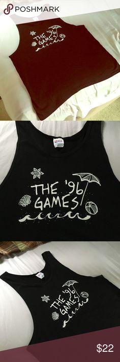 Hit em with the coolness . 96' Games . Yank top 📼 XL Tank that is straight out of your childhood. Awsome logo . Clean A+ Vintage Shirts Tank Tops