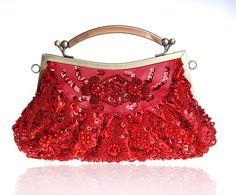 Red Chinese Women's Beaded Sequined Banquet Handbag Clutch Party Bridal Evening Bag Hand Purse Makeup Bag Free Shipping 0002-E