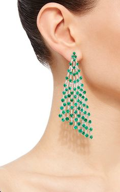 Round Emerald Earrings by Giovane Funky Jewelry, Ear Jewelry, Stylish Jewelry, Cute Jewelry, Bridal Jewelry, Jewelry Art, Jewellery, Emerald Earrings, Emerald Jewelry