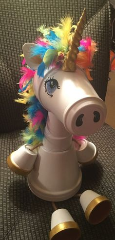 Whimsical clay pot Unicorn made by Sandy Byerly at Family Time Crafts. Please li… - Clay pots Flower Pot Art, Clay Flower Pots, Flower Pot Crafts, Flower Pot People, Clay Pot People, Clay Pot Projects, Clay Pot Crafts, Shell Crafts, Pots D'argile