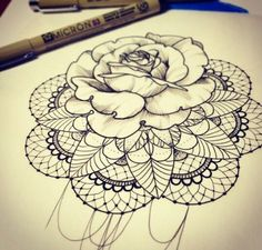 small rose with lace background thigh tattoo - Google Search