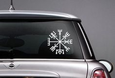 This is a vinyl car decal of the Vegvisir, or the Runic Compass, a magical symbol to guide and prote Viking Protection Rune, Car Decals, Vinyl Decals, Elder Futhark Alphabet, Runic Compass, Car Lettering, New Thor, Futhark Runes, Vegvisir