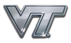 Virginia Tech University Hokies Silver Logo Chrome Auto Emblem is for the Virginia Tech University or NCAA, Virginia Tech Hokies sports fan with a chrome large Virginia Tech logo.