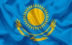 Herunterladen hintergrundbild kasachische flagge, kasachstan, asien, flagge kasachstans, seide flagge