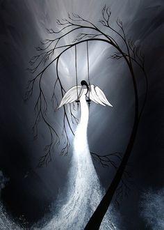 Black and White Print Dark Fantasy Art - Broken Wing by Jaime Best.  Series: Heartache and Poetry.  £19.02