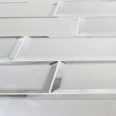 Reflections Glass Mirror Beveled Wall Tile - BV Tile and Stone Kitchen Cabinets And Backsplash, Vanity Backsplash, Shower Backsplash, Kitchen Flooring, Bathroom Accent Wall, Bathroom Accents, Mirror Tiles, Wall Tiles, Mirror Glass