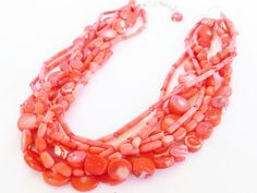 Coral Necklace - Coral Statement Necklace - OOAK Coral Pink Necklace. $74.00, via Etsy.