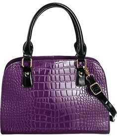 Purple Structured Frame GlossyCroc Satchel Crossbody Convt Bag ** Want additional info? Click on the image.