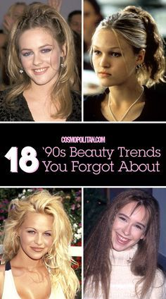 """90S BEAUTY TRENDS: You'll never forget these fun 90s beauty trends! Get some retro inspiration or use these ideas for a costume party or concert — you'll love looking back at these big beauty and hair trends! Click through to see how your fav celebs wore """"The Rachel"""" hairstyle, blue eyeshadow, brown matte lipstick, and more."""