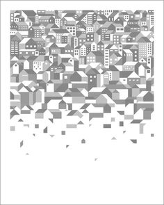 Andrew Holders // Born: ____ // Vertical Deconstruction // 2 color screen print // x City Poster, Mc Escher, City Illustration, Deconstruction, Web Design Inspiration, Fabric Painting, Vector Art, Screen Printing, Illustrations