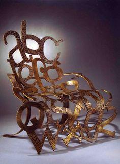 "Sarah Peters. ""The Alphabet Chair"". Bronze"