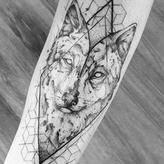 Wolf geometric pattern and aquarel tattoo by Broken Ink follow instragram @broken_tattoo