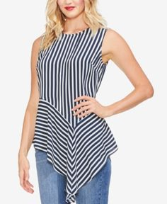 Vince Camuto Striped Asymmetrical Top - Blue S Cream T Shirts, Western Tops, Stylish Tops, Asymmetrical Tops, Dress Sewing Patterns, White V Necks, Vince Camuto, Blouse Designs, Fashion Outfits