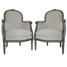 PAIR OF FRENCH LOUIS XVI STYLE PAINTED BERGERES/CHAIRS