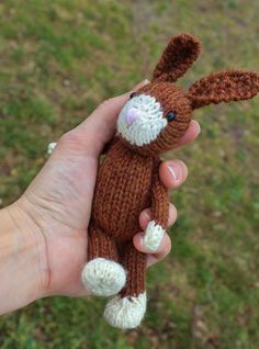 So cute!! Such a nice color, too.  Little knitted bunny in spice and white, via Etsy.