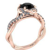 Black diamond Wedding Ring, Diamond Ring, The Best Engagement Ring, Rose Gold Ring With Diamond Center Stone, Diamond ring designed by Irina