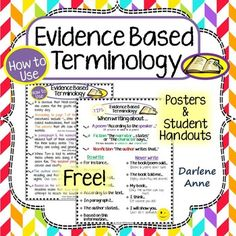 Evidence Based Terminology hand outs and posters/anchor charts. This is so spot-on! It demonstrates exactly how to (and how not to) cite evidence from the text.  FREE