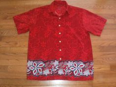 ALOHA SHIRT! MENS medium EXTREME GEAR red HAWAIIAN s/s FLORAL silky NICE!