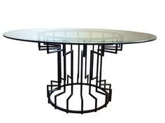 Gear Steel & Glass Dining Table on Chairish.com